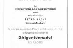Dirigentennadel in Gold für Kapellmeister Peter Kreuz 2014