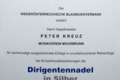 Silberne Dirigentennadel für Kapellmeister Peter Kreuz 2011
